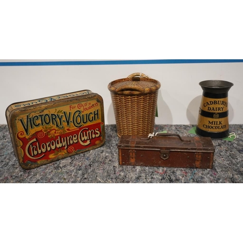 50 - 2 Novelty Huntley & Palmer biscuit tins, Cadbury's dairy milk chocolate tin and early Victory V coug...