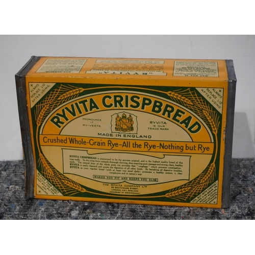 53 - Wartime tin of Ryvita crisp bread. Unopened with original contents...