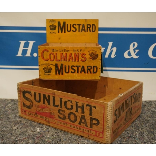 58 - Sunlight soap wooden box and Colmans mustard wooden box...