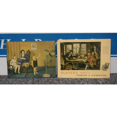 8 - McVities advertising showcard and Players Navy Cut showcard...