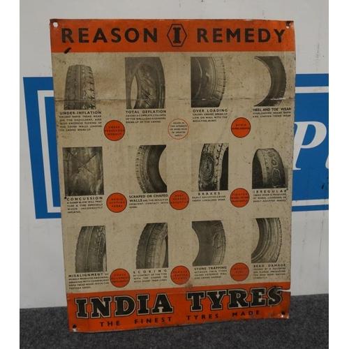 14 - Tin sign- Indian tyres 22 1/2x17