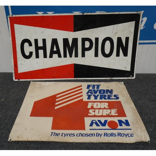 18 - Plastic sign- Champion and Avon tyres...