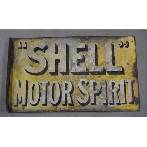 2 - Enamel double sided sign- Shell  Motor Spirit...