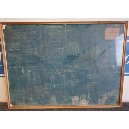 22 - Blackstone specification chart, framed...