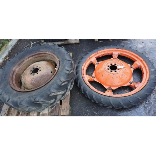 43 - Rowcrop wheel and tyre and rear tractor tyre...