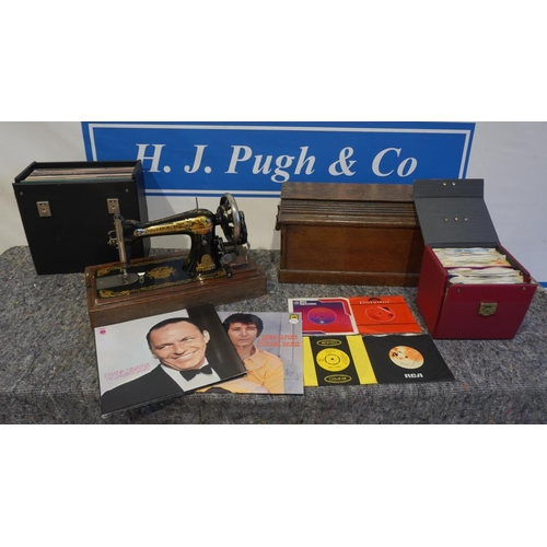 14 - Singer sewing machine and various records...
