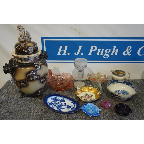 15 - Box of Murano glass, blue and white china and large oriental vase...