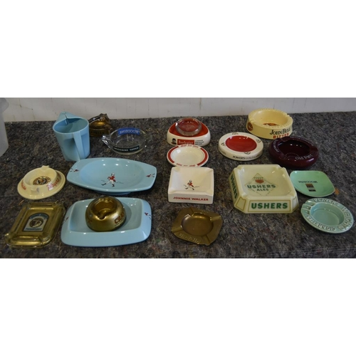 18 - Large quantity of ashtrays to include Johnnie Walker, Beefeater, Woodbine & Johnnie Walker water jug...