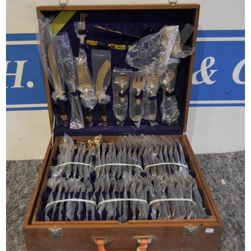 19 - 1970 Thailand cutlery set boxed with drawers...