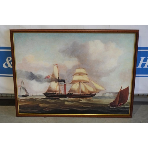 2 - Large painting of a steamboat...