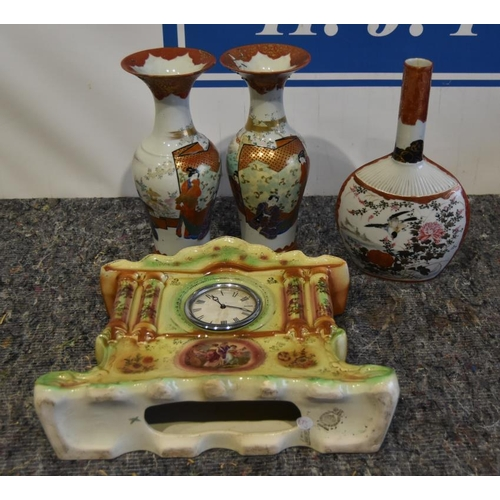 21 - China clock and oriental vases...