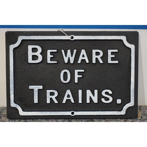 24 - Beware of trains sign...