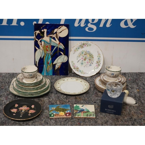 4 - Box of assorted Copeland Chelsea rose china C.1910 and other items...