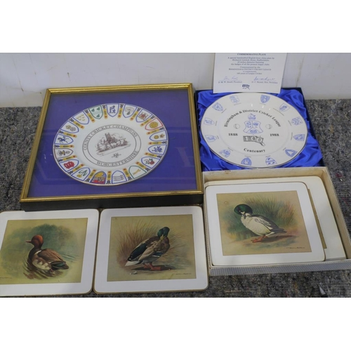 47 - Table mats by Basil Edge, 2 cricket award plates to include County Champions Worcestershire 1974....