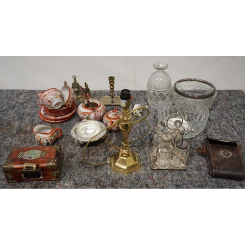 49 - Box of cut glass, china, wooden chest, brass items etc...