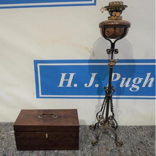 5 - Tea caddy and oil lamp...