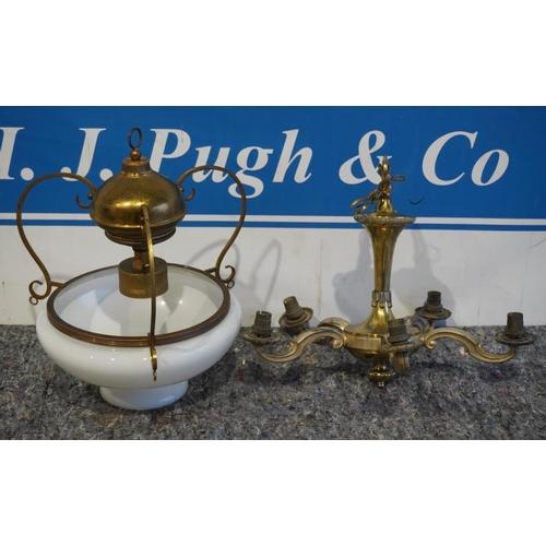 50 - Vintage 5 branch light fittings and pendant chapel light...