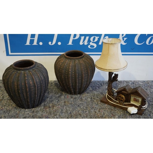 51 - 2 Plant pots & lamp with clock attachment...