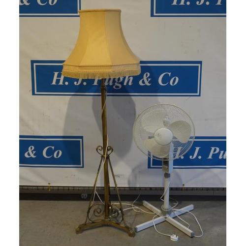 54 - Brass standard lamp and fan...