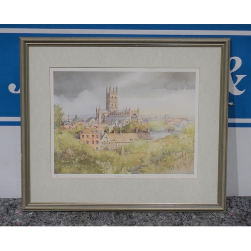55 - Limited edition watercolour 619/860 of Gloucester cathedral by K.W.Burton...