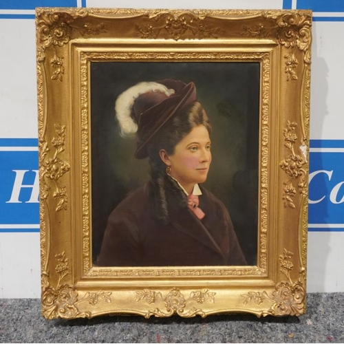 56 - Oil on canvas portrait of Victorian lady in large ornate gilt frame...