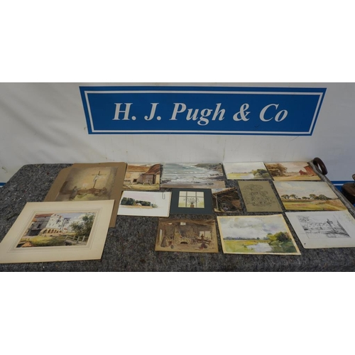 6 - Selection of drawings and watercolours by Joyce Haddon...