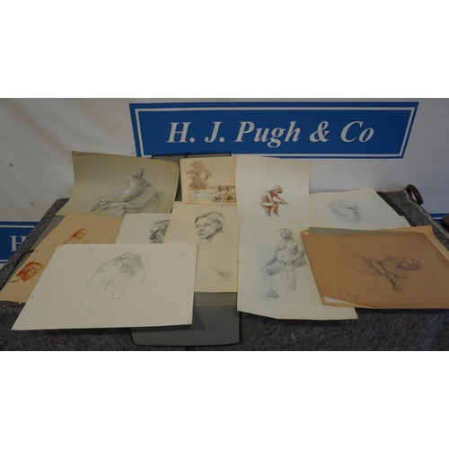 7 - Selection of drawings and watercolours by Joyce Haddon...