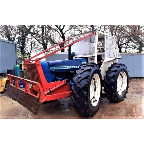 1561 - Ford County tractor, 1164 model, forestry spec, guarded winch and blade, good condition and starts e...