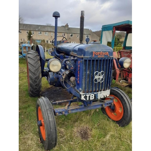 1589 - Fordson E27N tractor. P6 engine, all original, Goodyear tyres, lights, good runner. No docs...
