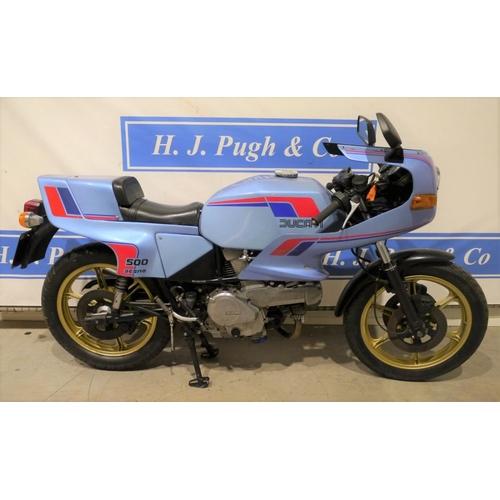 353 - Ducati Pantah 500SL. 1982. 500cc MOT in 2017. 5spd bevel driven engine. c/w certificate. Reg. RKU 30...