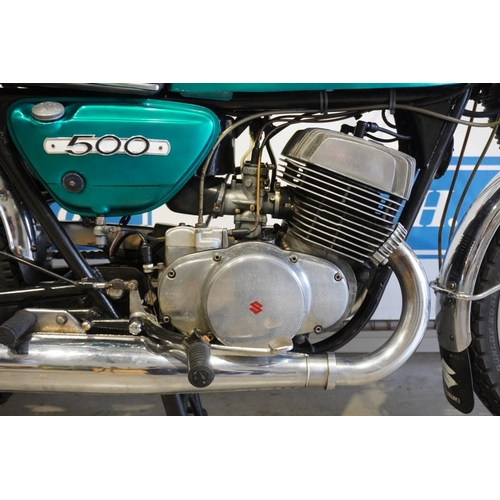 354 - Suzuki T500 motorcycle. 1971. Runs. 500cc Matching engine and frame numbers. Tidy motorcycle. Reg. E...