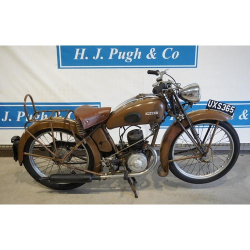 355 - Alcyon type 23 motorcycle. 1950. 125cc. Engine no. 236809. c/w history and certificates. Reg. UXS 36...