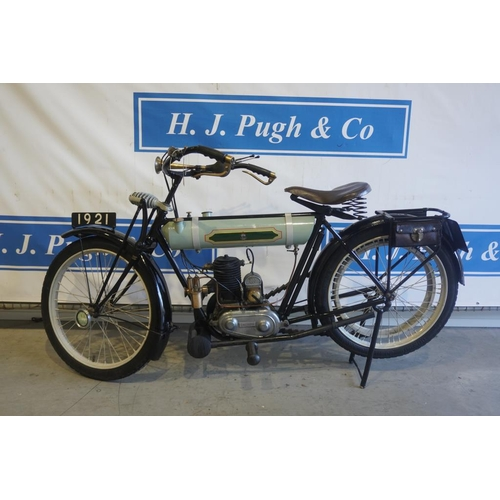 356 - Triumph Junior motorcycle. 225cc 1921. Off the road since 1991. Runs and rides. Reg. AFA 649A. V5...