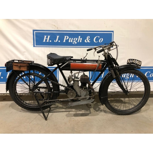 369 - Calthorpe 2 3/4HP JAP powered motorcycle. 1915. Correct engine, 2 spd gearbox, matching numbers. c/w...