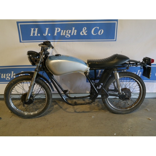 378 - Benelli Twin motorcycle. 1985. Good project. Frame no-AB12523. No engine. Reg C577CVM. No docs...