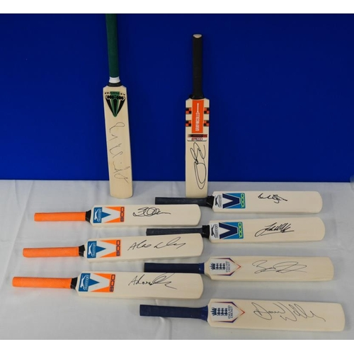 11 - 9 Signed mini cricket bats- Northamptonshire county cricket club to include Rory Kleinfeldt, David W...