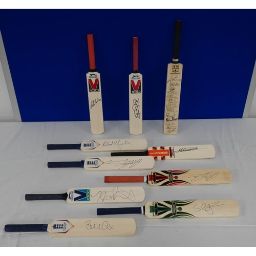 18 - 10 Signed mini cricket bats- Worcestershire county cricket club to include Moeen Ali, Shannon Gabrie...