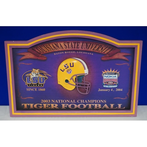 22 - Louisiana State University, National college football champions 2003 commemorative plaque....