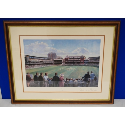 23 - Framed print of Lords cricket ground signed by Dennis Compton...