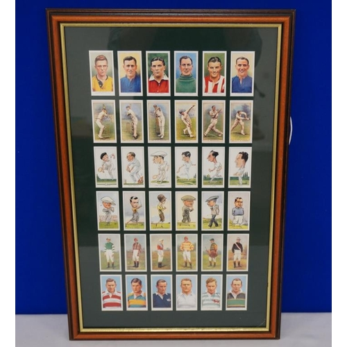 24 - Framed set of 36 sporting themed cigarette cards...