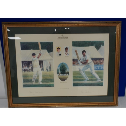 26 - Framed print of Colin and Chris Cowdrey signed by both...