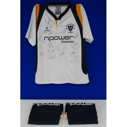 27 - 3 Worcester Warriors rugby shirts, signed by R.Powell, Hickey and team...