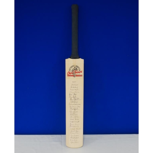 34 - Autographed cricket bat of 1988 Chris Tavare benefit match signed by Kent, Middlesex, Hampshire and ...