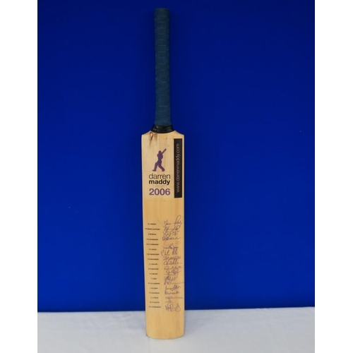 35 - Autographed cricket bat of 2006 Darren Maddy benefit match signed by Leicestershire team including S...