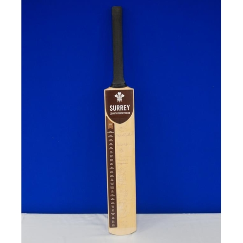 38 - Autographed cricket bat of 2011 Surrey team signed by Jason Roy, Rory Burns, Mark Ramprakash etc...