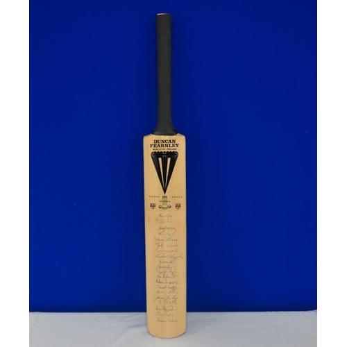 40 - Autographed cricket bat of 1993 Weston D'Oliveira benefit match signed by Graham Hick, Vikram Solank...