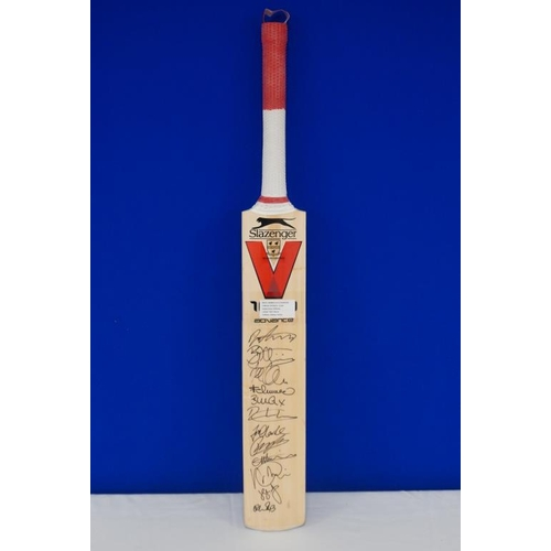 50 - Autographed cricket bat of 2015 Worcester vs Sussex match signed by Saeed Ajmal, B.Cox, J.Clarke, R....