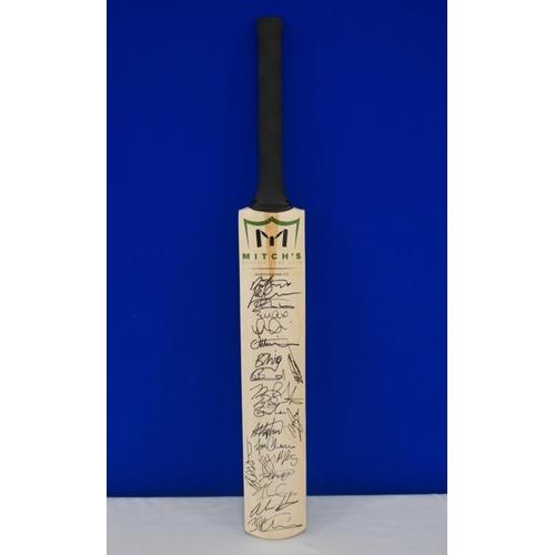 52 - Autographed cricket bat of 2016 Daryl Mitchell benefit match signed by M.Ali, M.Sautner, M.Henry, Ja...