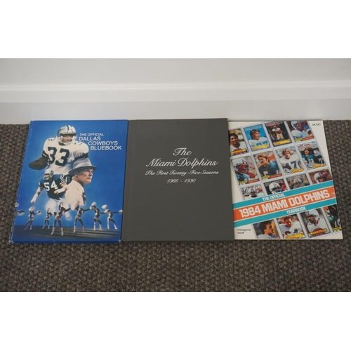 58 - NFL yearbooks- Dallas Cowboys Blue Book inaugural book, Miami Dolphins inaugural yearbook (1984) and...