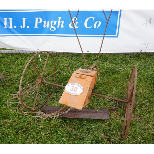30 - Rush seed drill and hay knife...